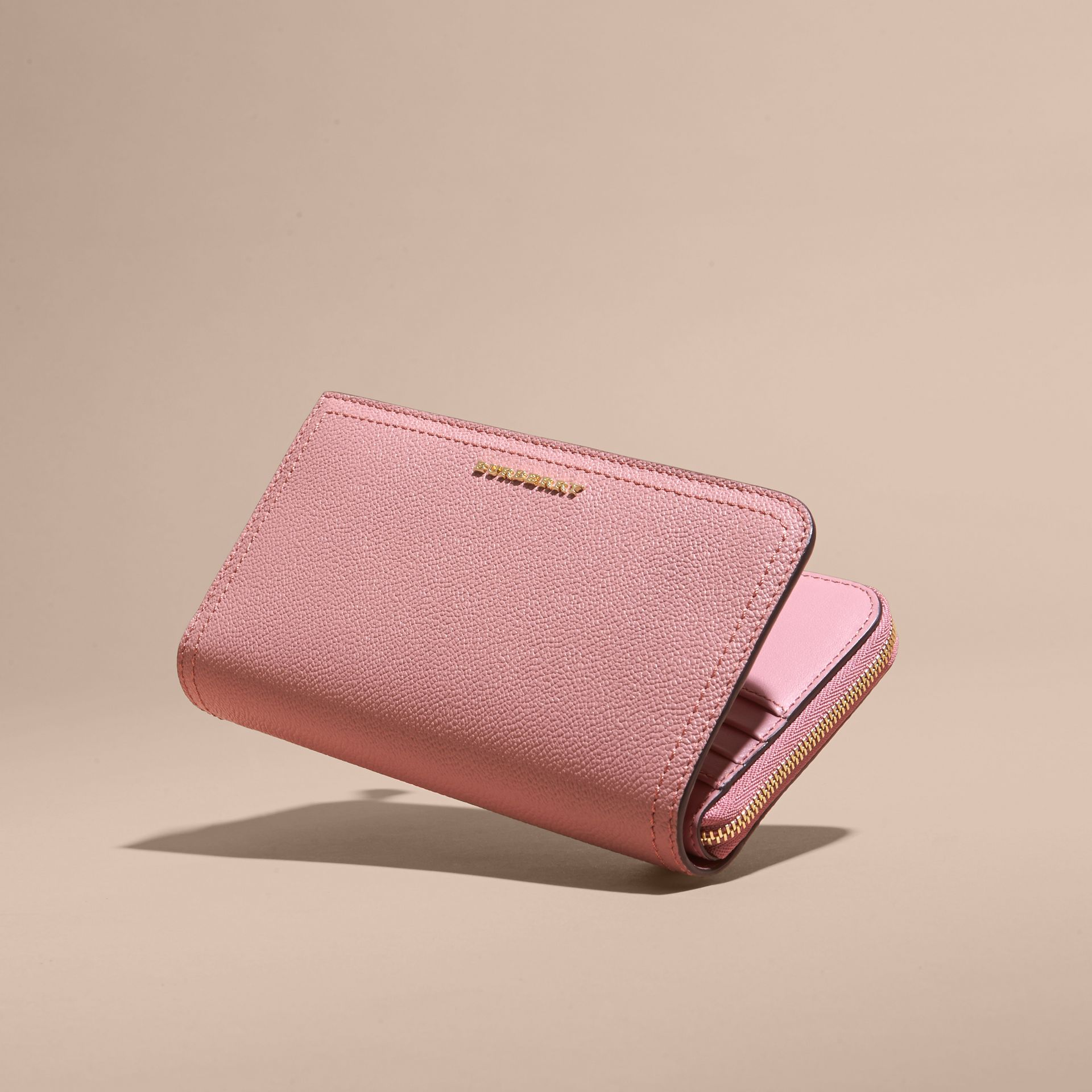 Grainy Leather Ziparound Wallet Dusty Pink - gallery image 4