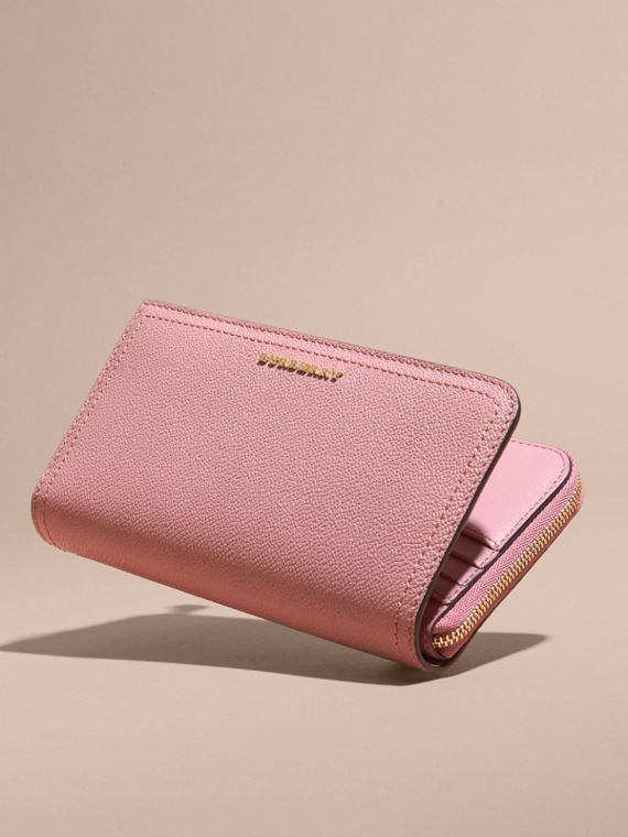 Grainy Leather Ziparound Wallet Dusty Pink - cell image 3