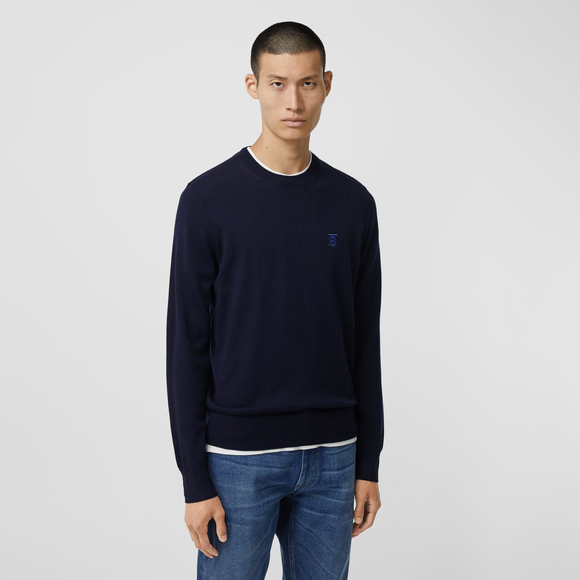 Monogram Motif Merino Wool Sweater in Navy - Men | Burberry - gallery image 4