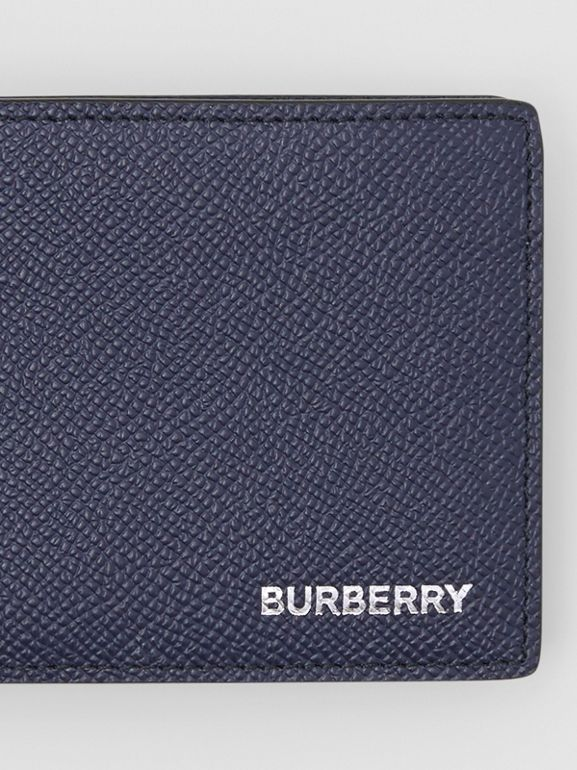 Grainy Leather Bifold Wallet in Regency Blue - Men | Burberry United States - cell image 1