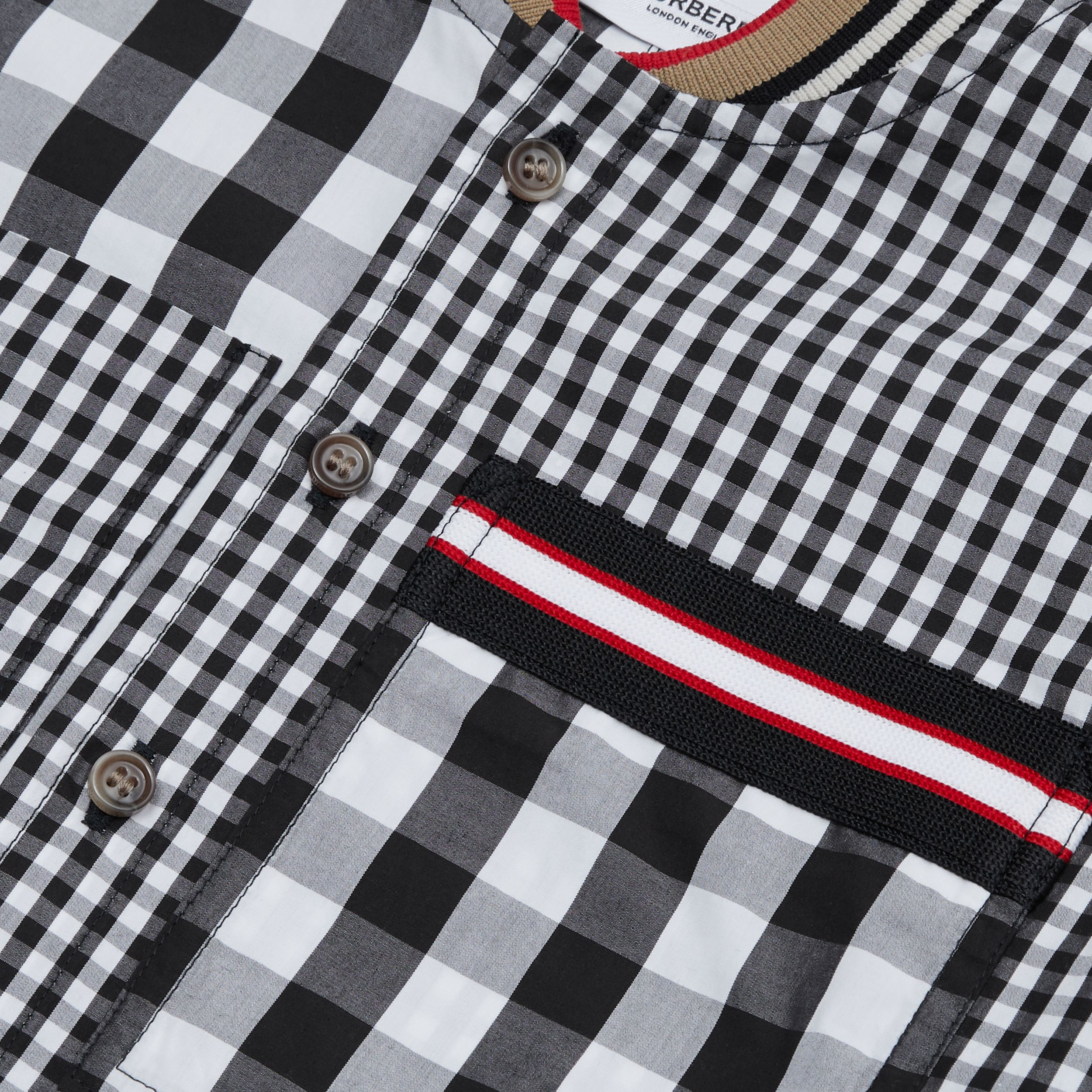 Icon Stripe Trim Gingham Cotton Shirt in Black | Burberry Hong Kong S.A.R. - 2