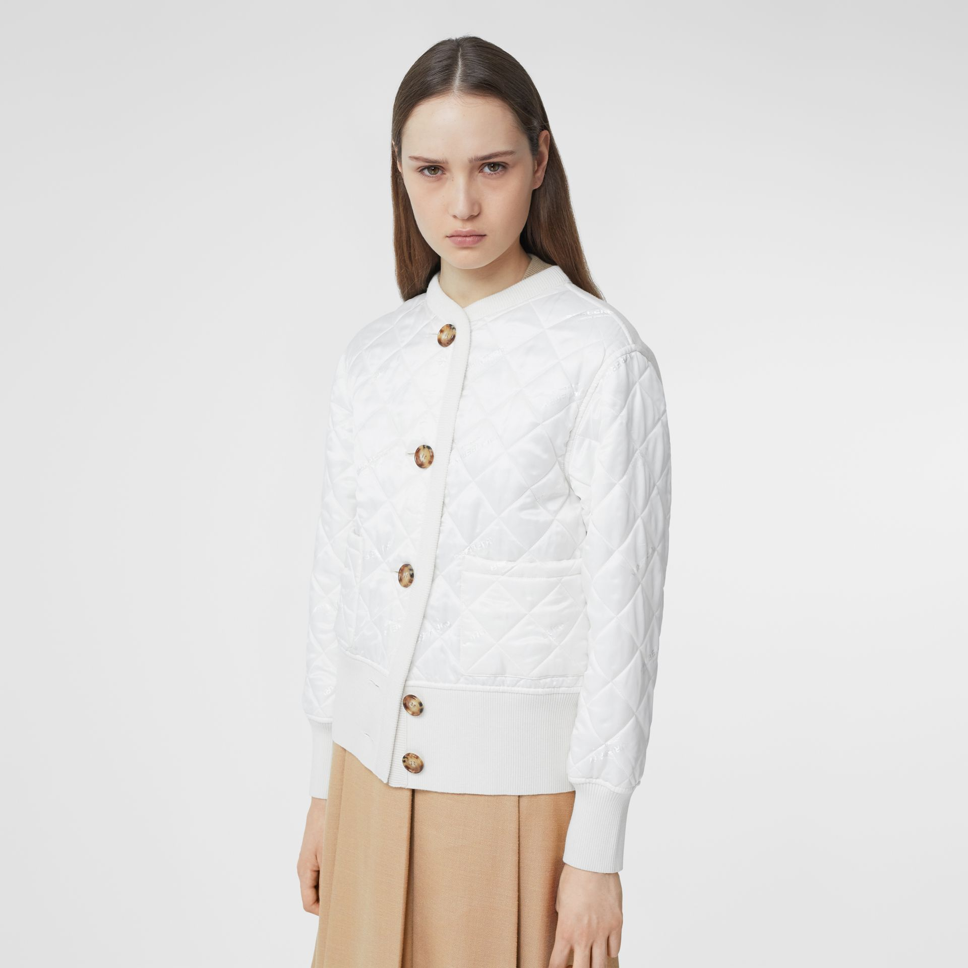 Logo Jacquard Diamond Quilted and Wool Blend Jacket in White - Women | Burberry - gallery image 5