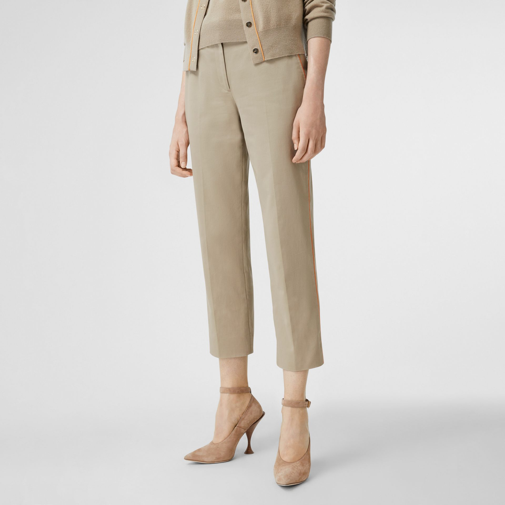 Silk Trim Cropped Cotton Chinos in Honey - Women | Burberry - gallery image 4