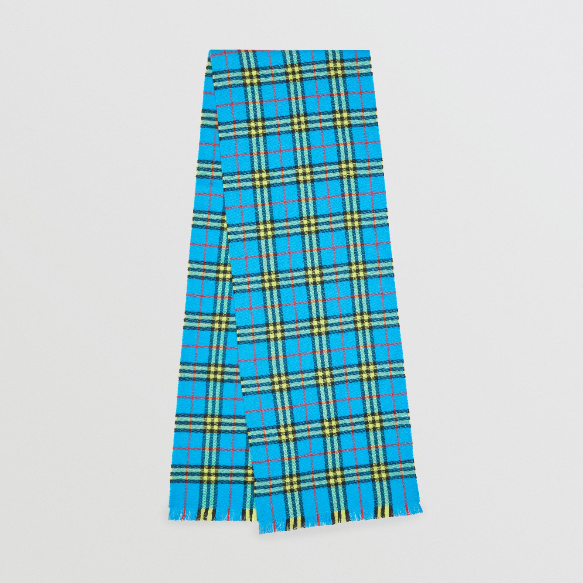 Check Cashmere Scarf in Bright Sky Blue | Burberry United Kingdom - gallery image 0