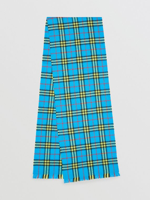 Check Cashmere Scarf in Bright Sky Blue