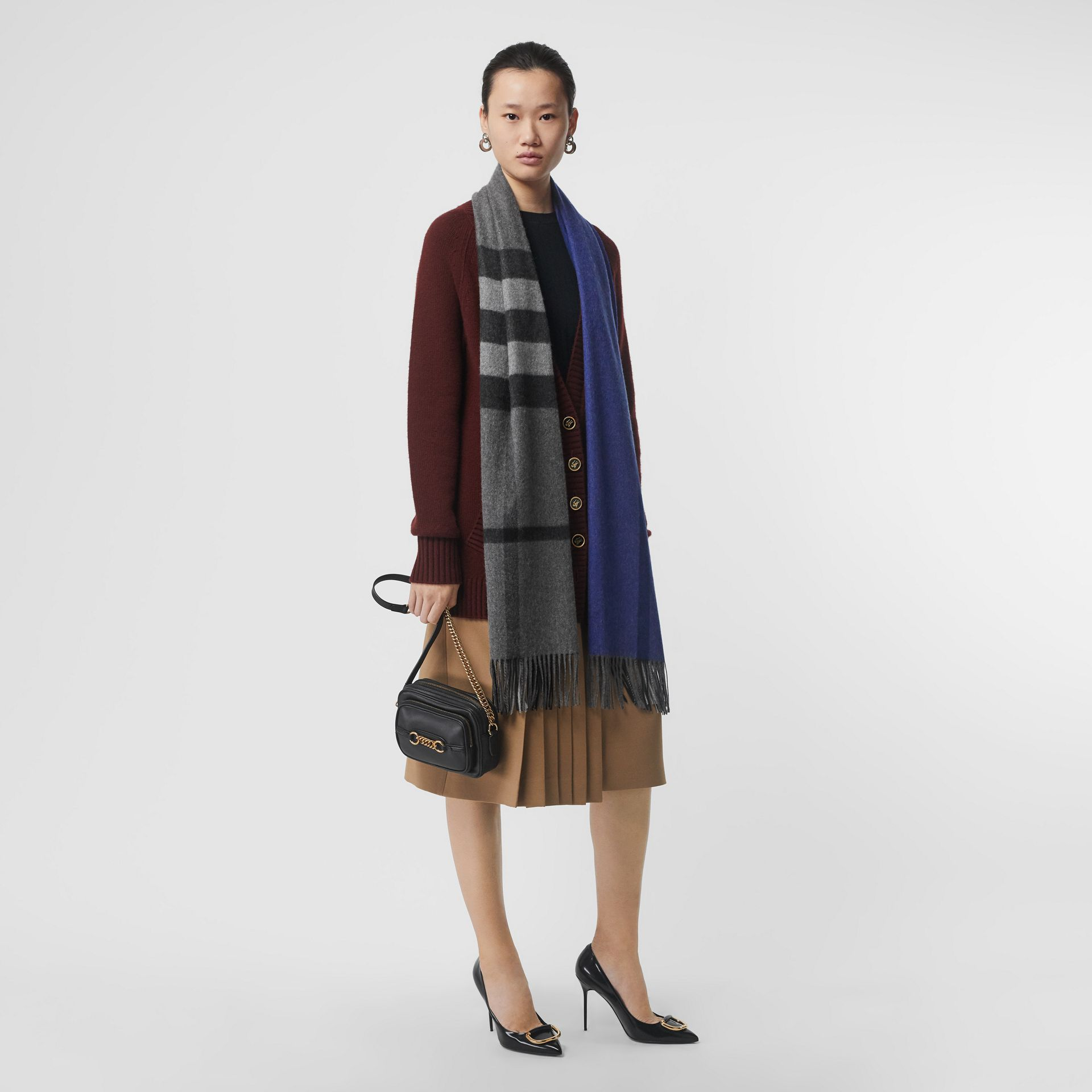 Colour Block Check Cashmere Scarf in Bright Cobalt | Burberry Singapore - gallery image 2