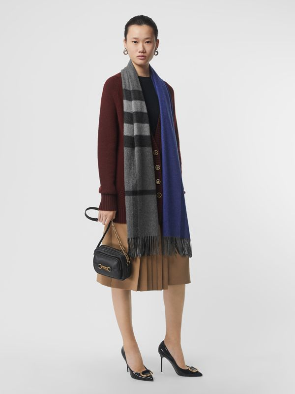 Colour Block Check Cashmere Scarf in Bright Cobalt | Burberry - cell image 2