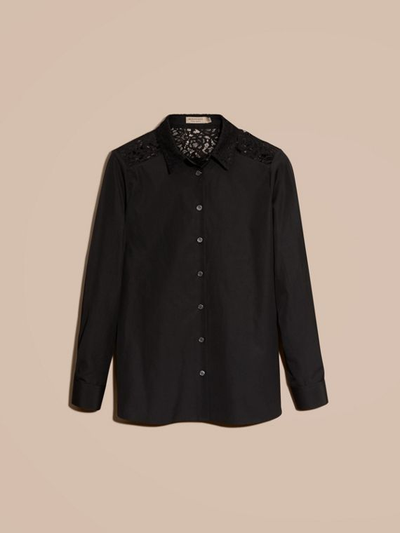 Black Macramé Lace Detail Cotton Shirt - cell image 3
