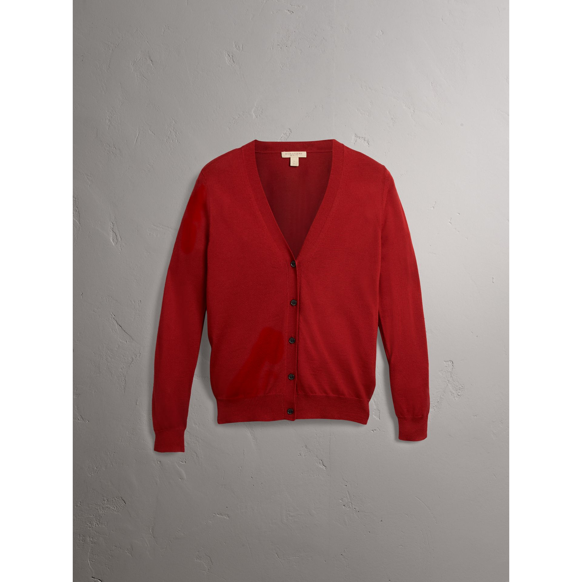 Check Detail Merino Wool Cardigan in Parade Red - Women | Burberry Canada - gallery image 3