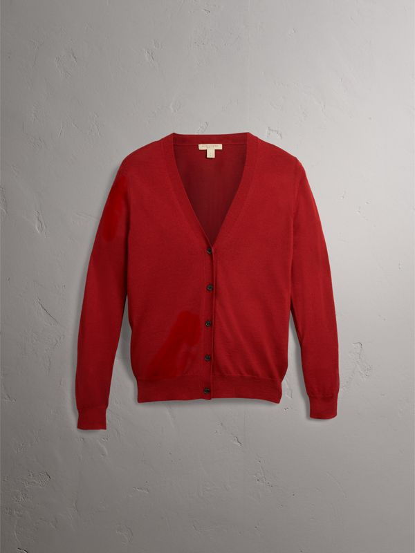 Check Detail Merino Wool Cardigan in Parade Red - Women | Burberry Canada - cell image 3