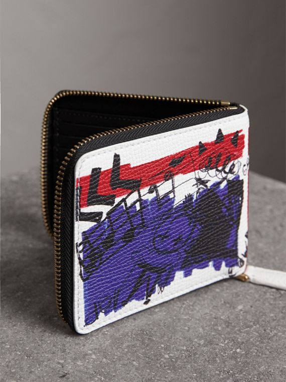 Doodle Print Leather Ziparound Wallet in White - Men | Burberry - cell image 2