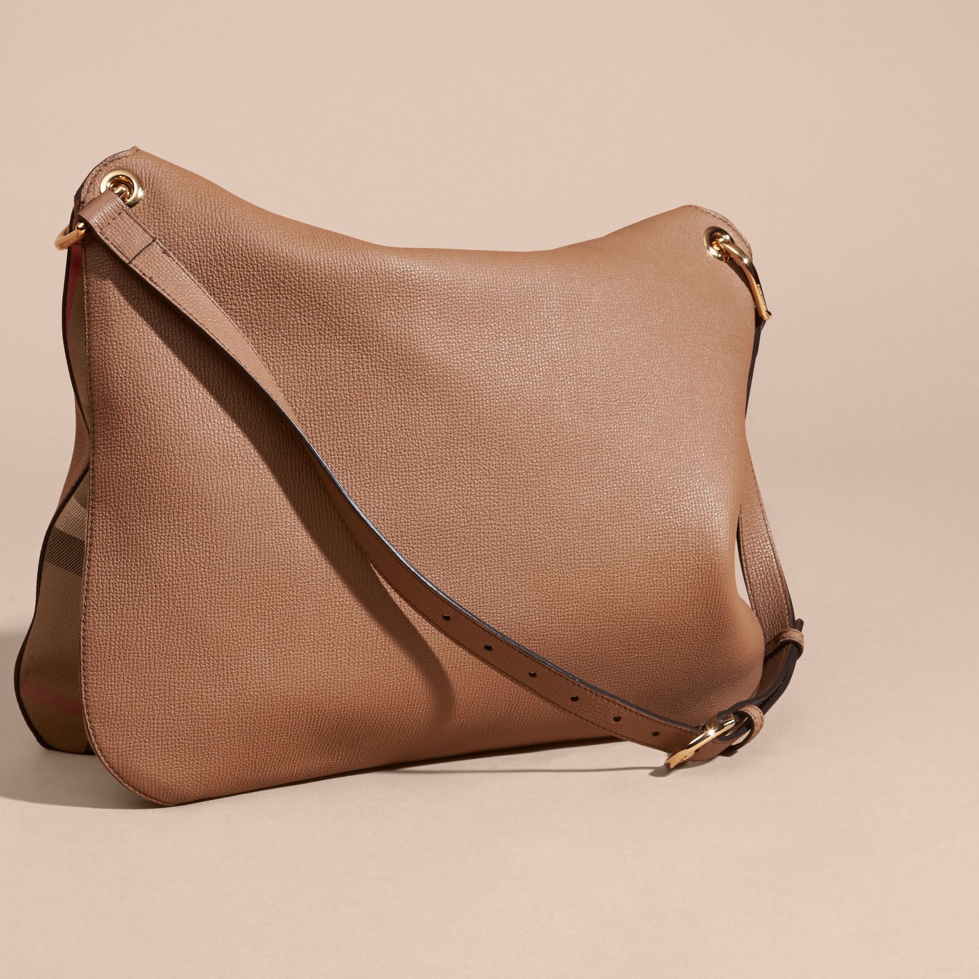 Dark sand Grainy Leather and House Check Shoulder Bag - gallery image 4