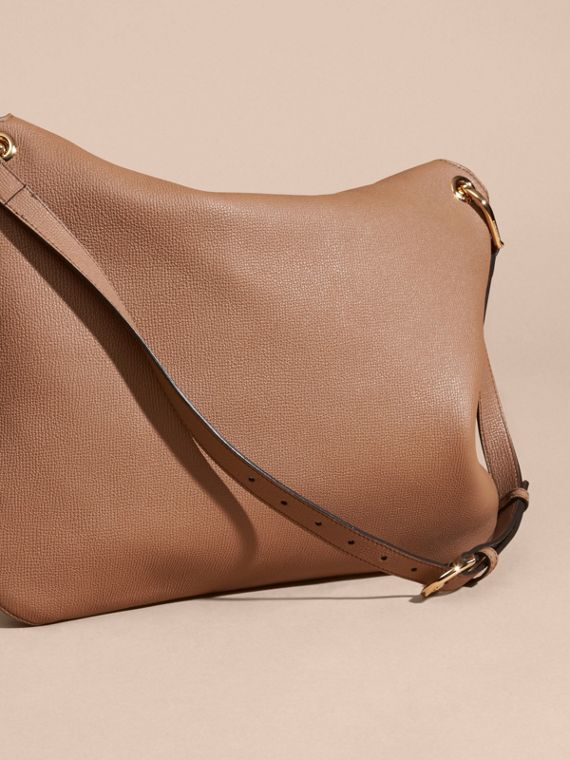 Dark sand Grainy Leather and House Check Shoulder Bag - cell image 3