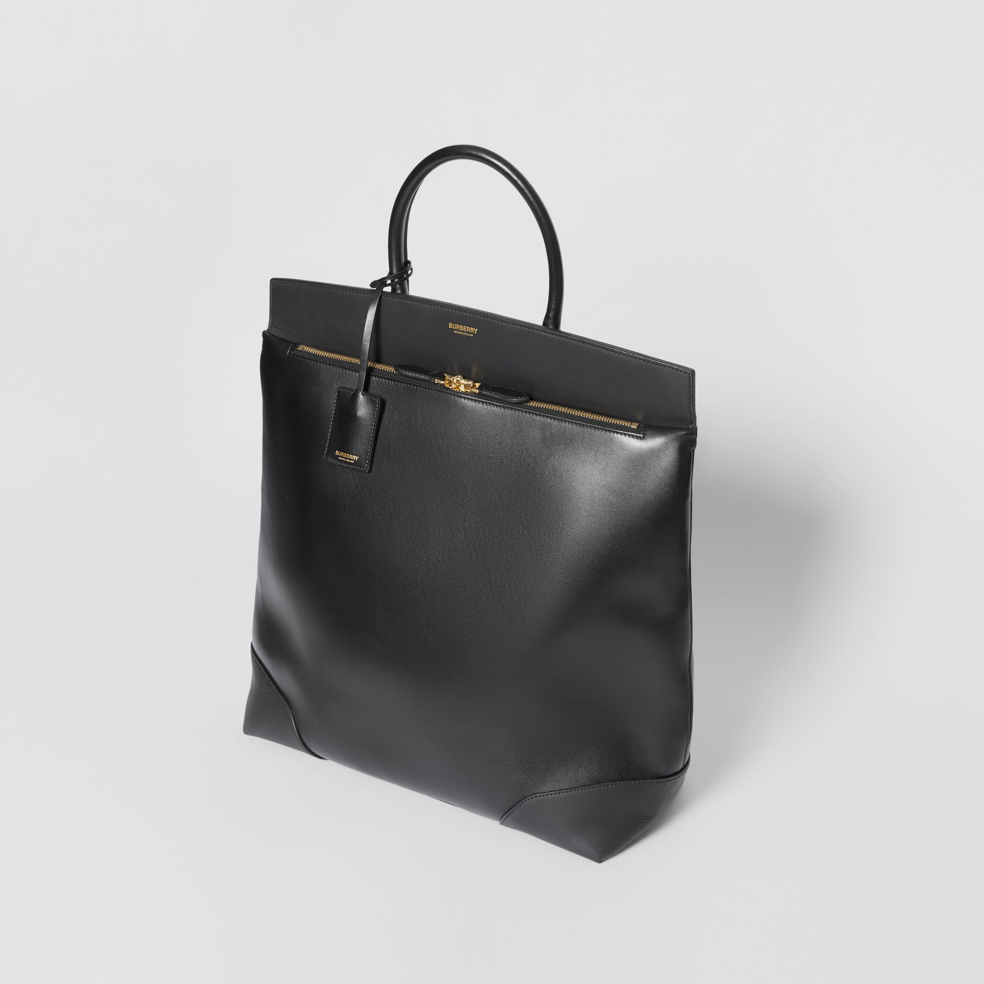 Leather Portrait Society Tote in Black - Men | Burberry - gallery image 2