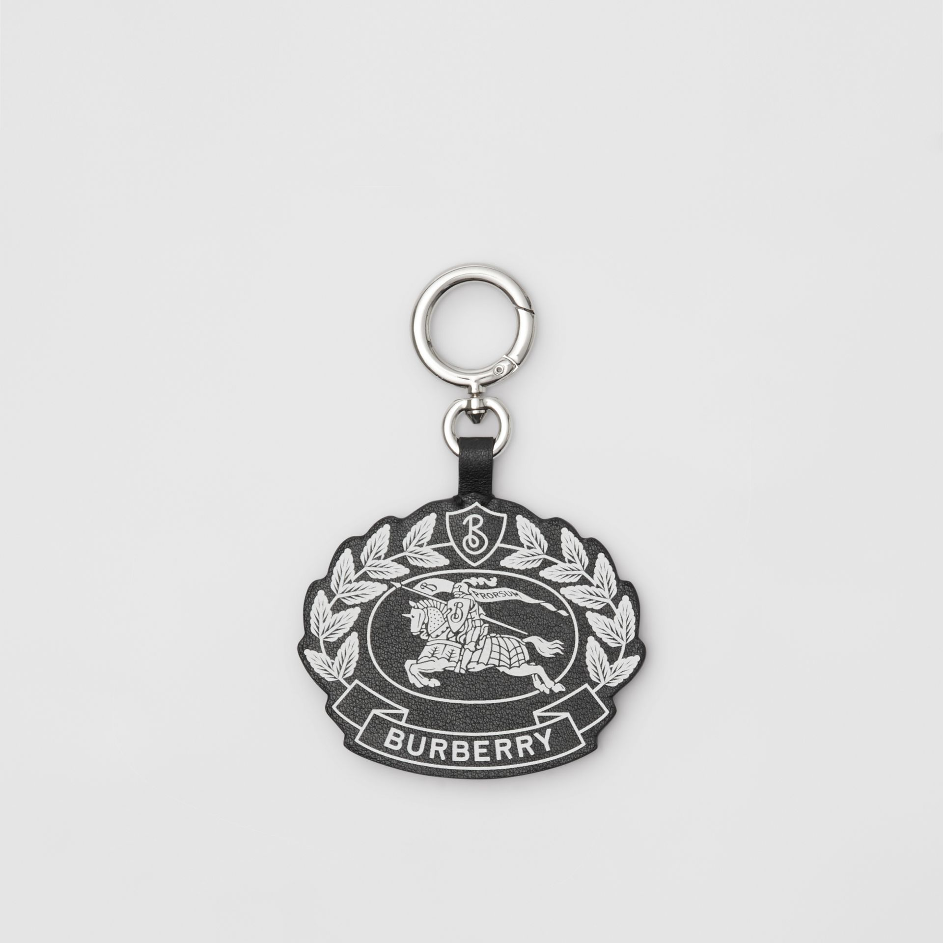 Crest Print Leather Key Charm in Black/white - Men | Burberry United Kingdom - gallery image 0