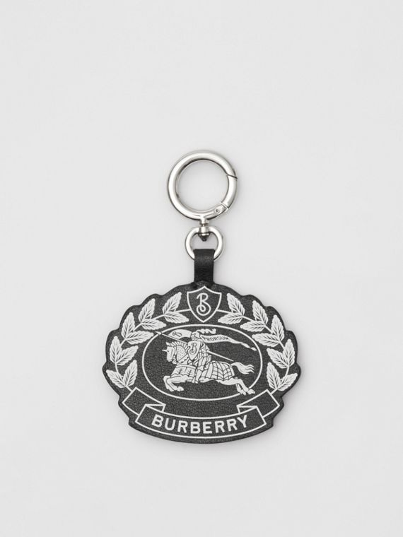Crest Print Leather Key Charm in Black/white