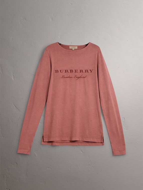 Long-sleeve Embroidered Cotton Top in Rosewood - Men | Burberry - cell image 3