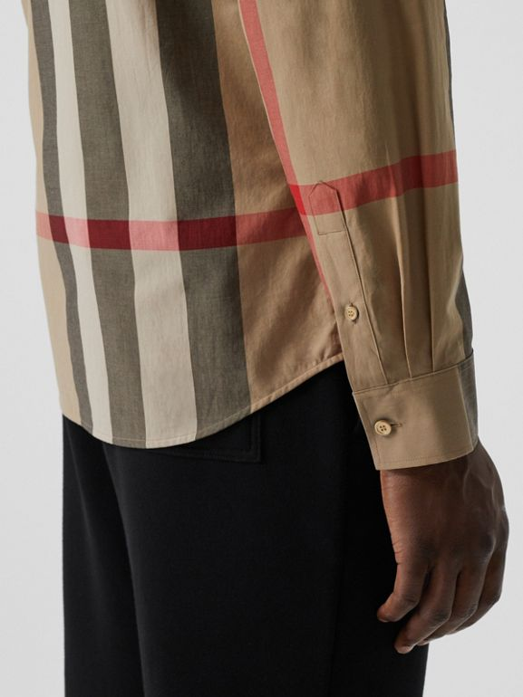 Check Stretch Cotton Poplin Shirt in Archive Beige - Men | Burberry - cell image 1