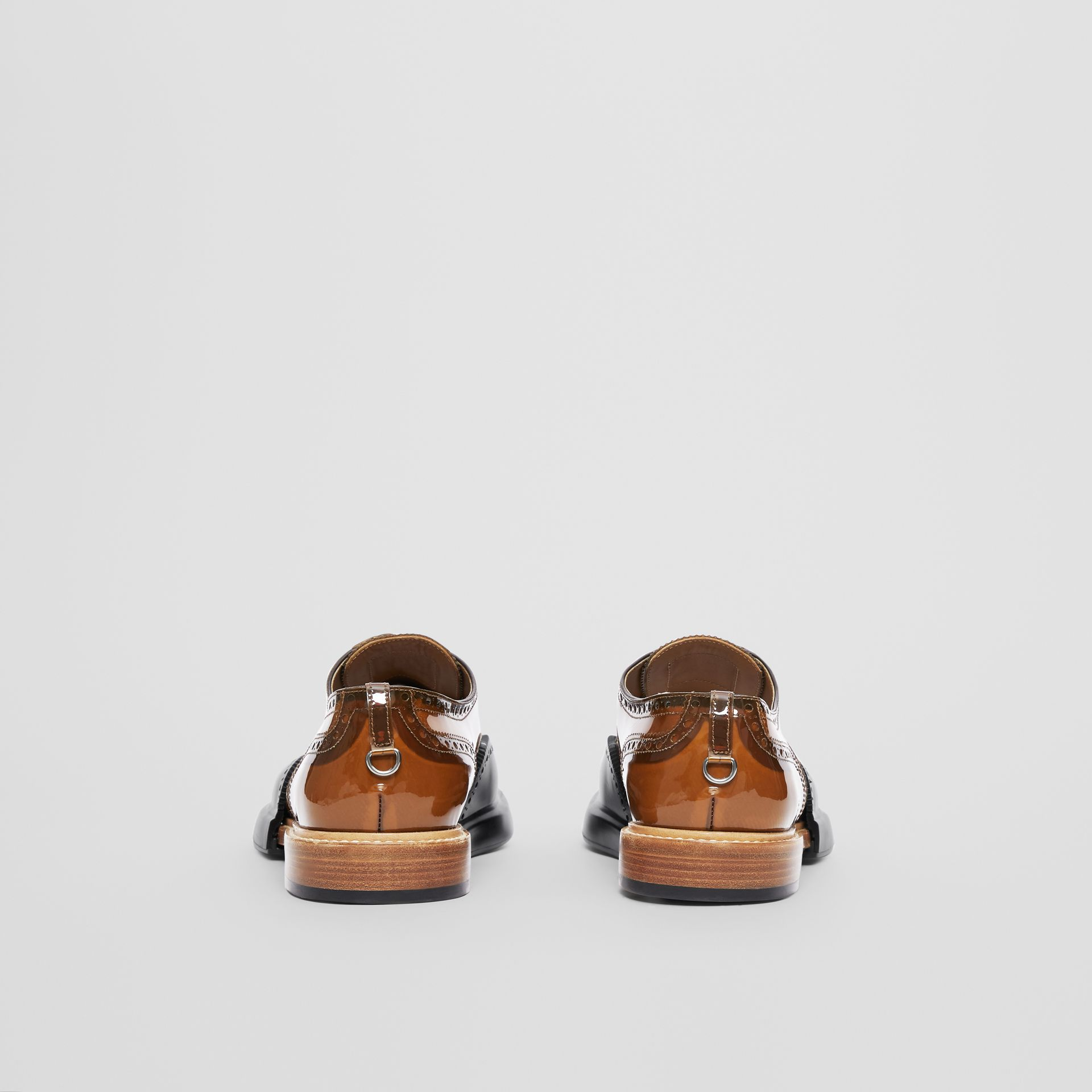 Toe Cap Detail Vinyl and Leather Oxford Brogues in Brown/black - Men | Burberry - gallery image 3