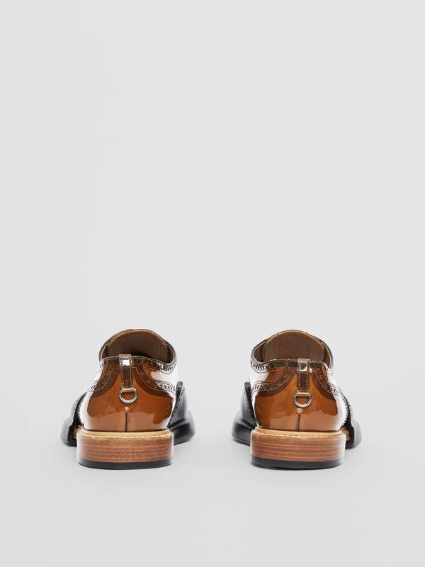 Toe Cap Detail Vinyl and Leather Oxford Brogues in Brown/black - Men | Burberry - cell image 3