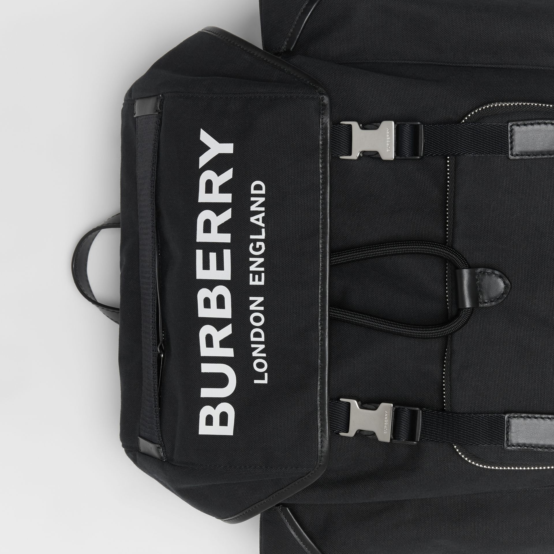Medium Logo Detail Cotton Blend Backpack in Black - Men | Burberry - gallery image 1
