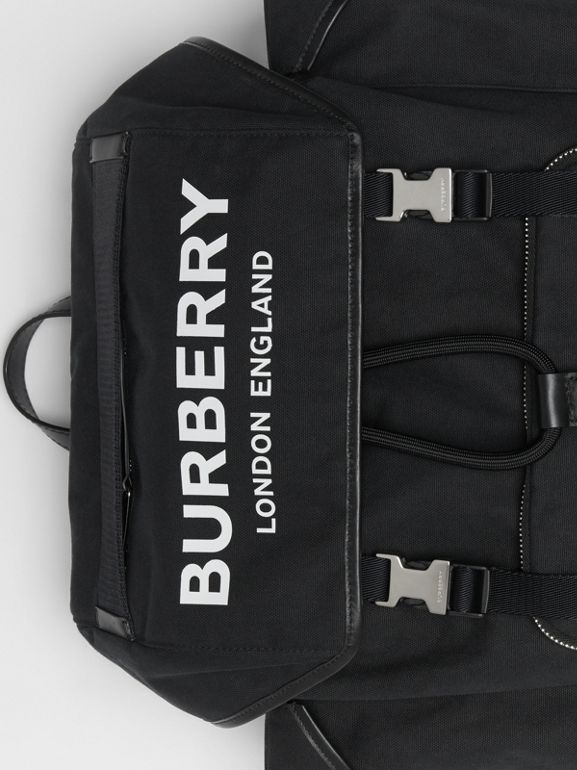 Medium Logo Detail Cotton Blend Backpack in Black - Men | Burberry - cell image 1