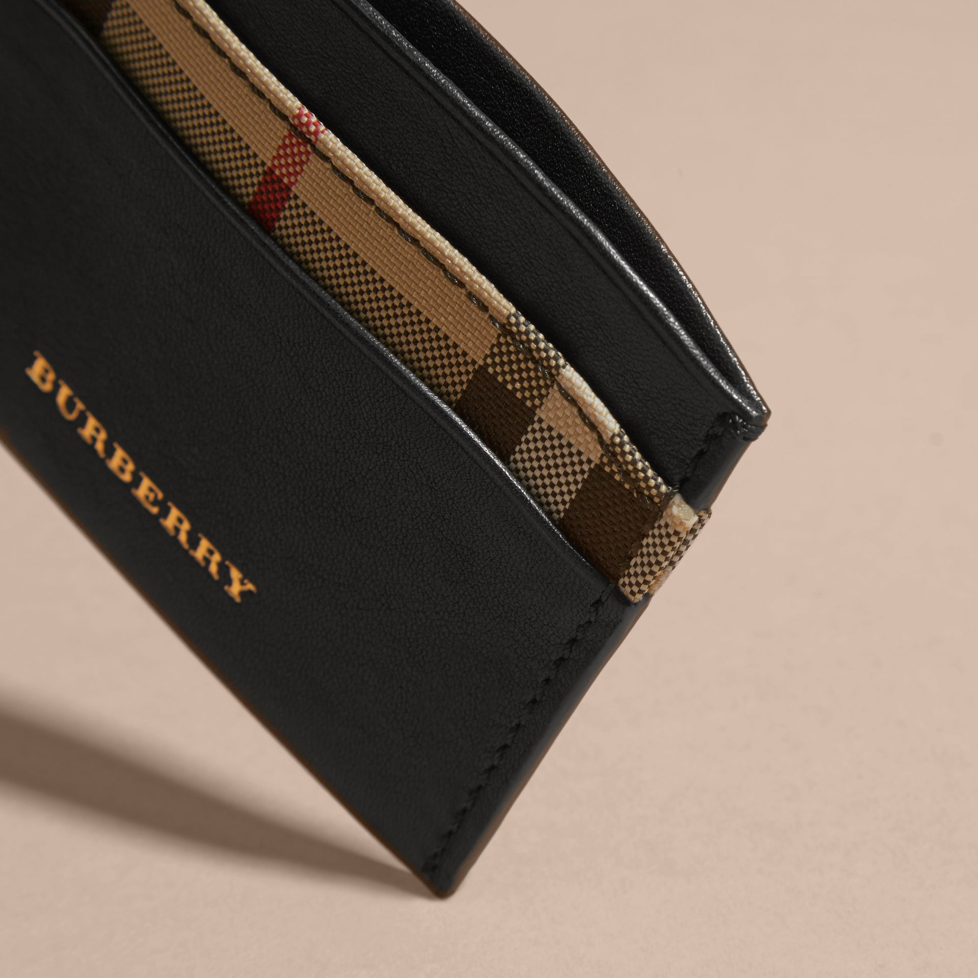 Check and Leather Card Case in Black - Women | Burberry - gallery image 4