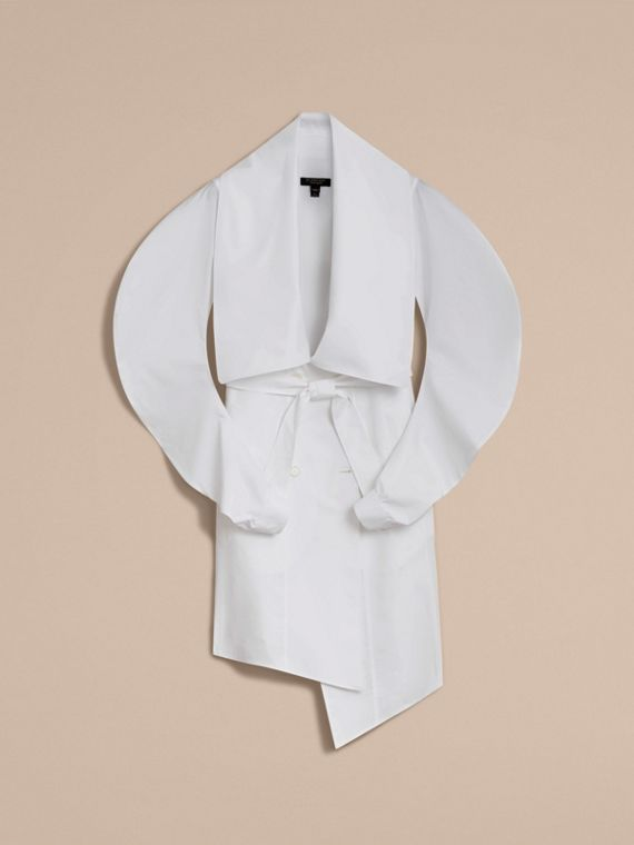 Stretch Cotton Sculptural Wrap Dress in White - Women | Burberry Singapore - cell image 3