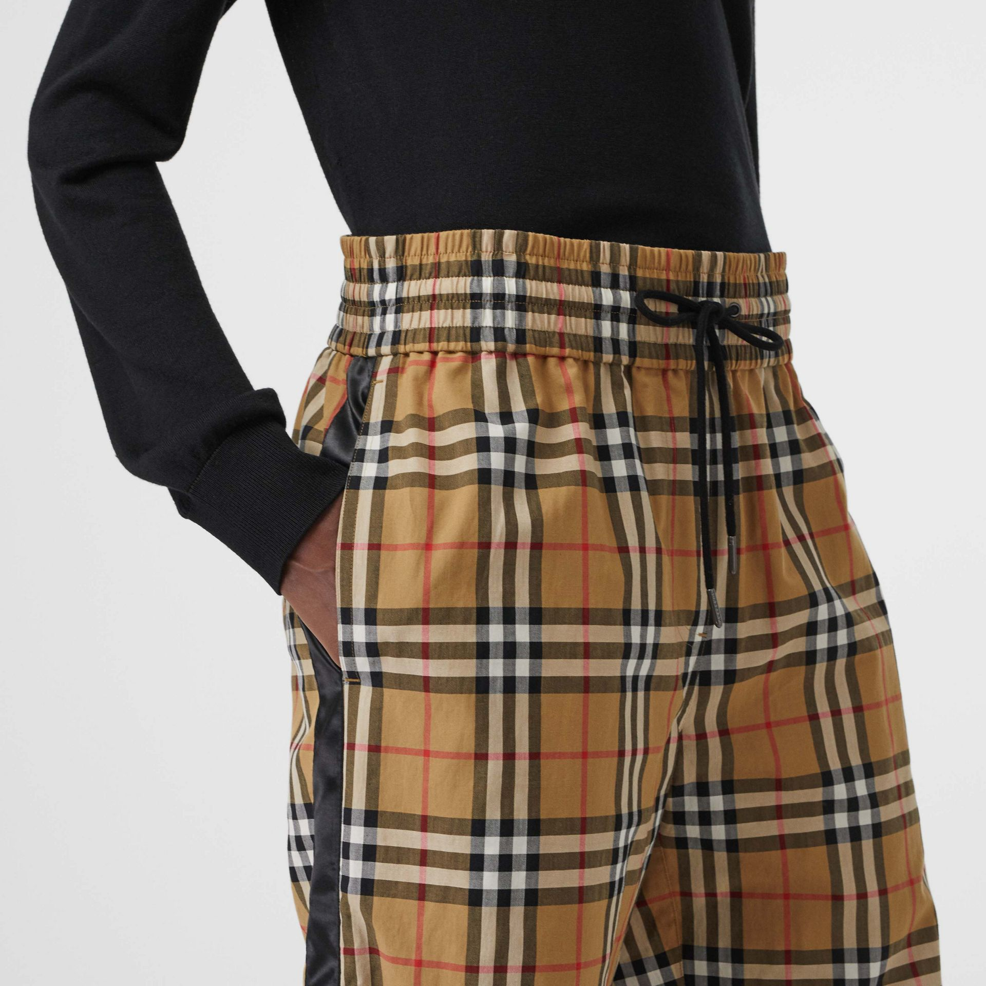 Satin Trim Vintage Check Cotton Trousers in Antique Yellow - Women | Burberry - gallery image 1