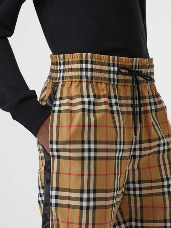 Satin Trim Vintage Check Cotton Trousers in Antique Yellow - Women | Burberry - cell image 1