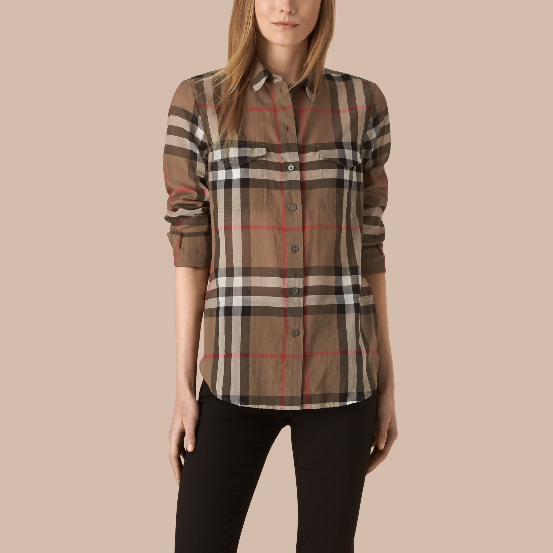 Check Cotton Shirt Taupe Brown - gallery image 1