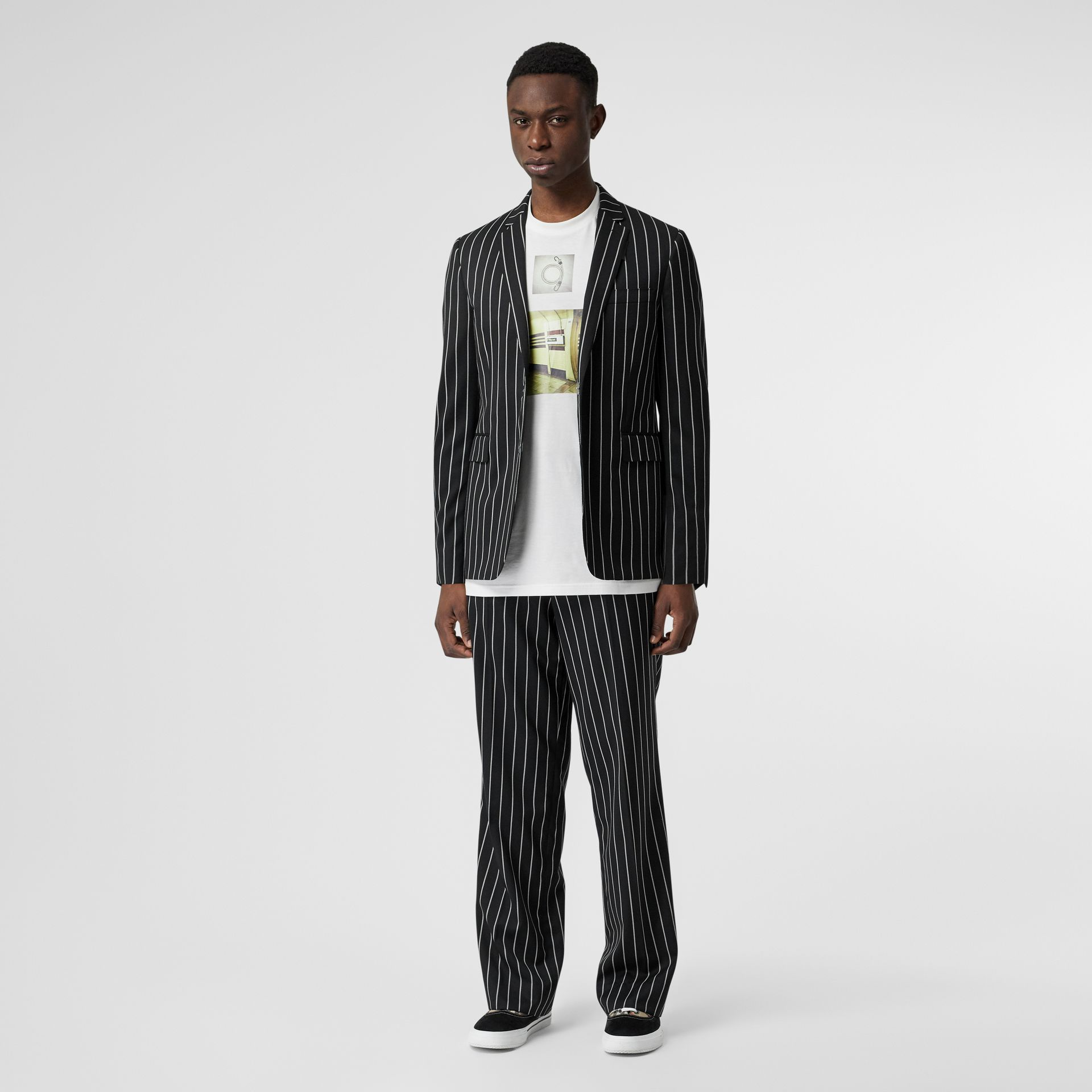 Pinstriped Stretch Wool Wide-leg Tailored Trousers in Black - Men | Burberry United Kingdom - gallery image 0