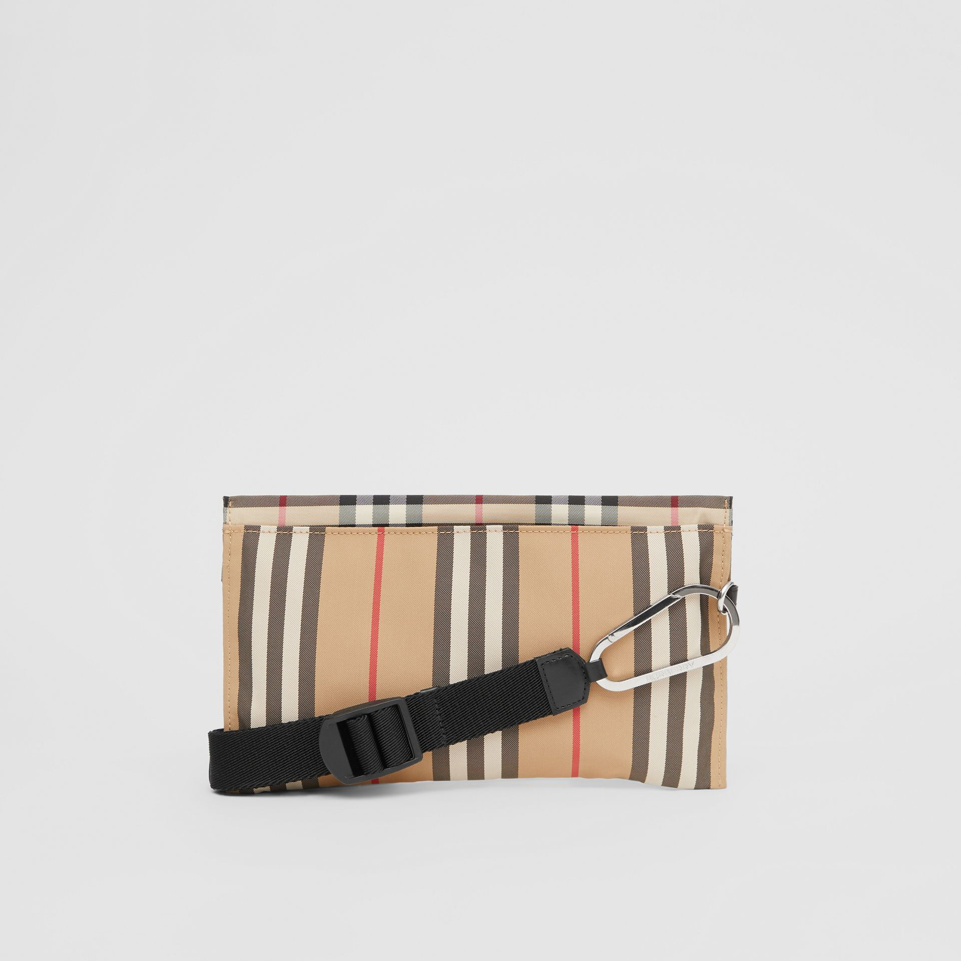 Logo Print Icon Stripe Nylon Zip Pouch in Archive Beige - Women | Burberry - gallery image 7