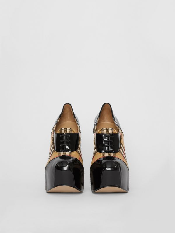 Vintage Check and Patent Lace-up Platforms in Black - Men | Burberry - cell image 2
