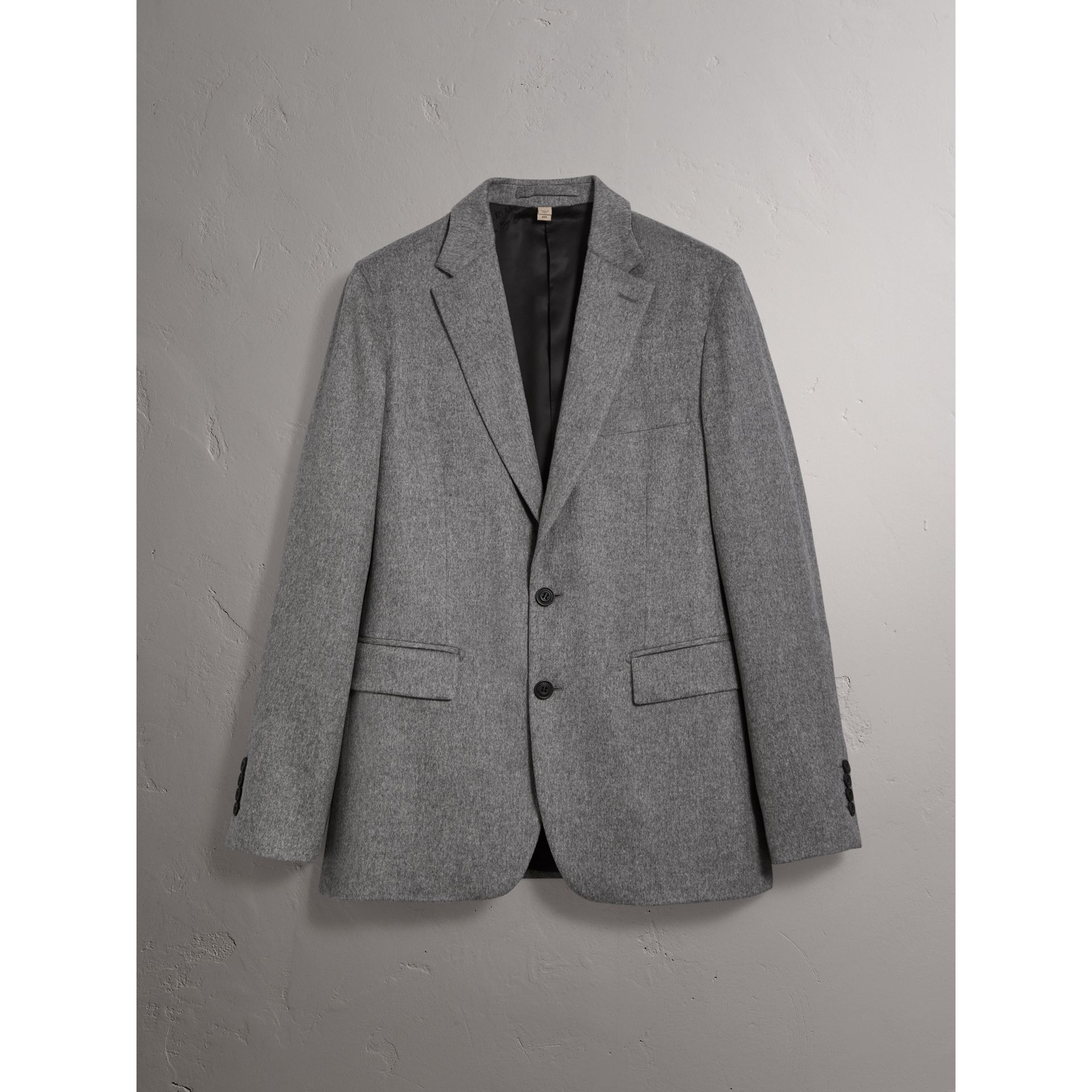 Soho Fit Cashmere Tailored Jacket in Mid Grey Melange - Men | Burberry - gallery image 3