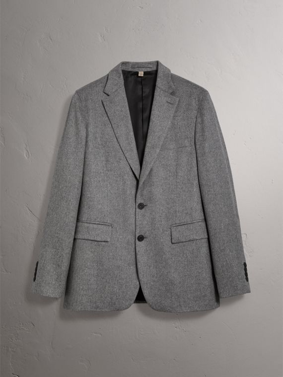 Soho Fit Cashmere Tailored Jacket in Mid Grey Melange - Men | Burberry - cell image 3