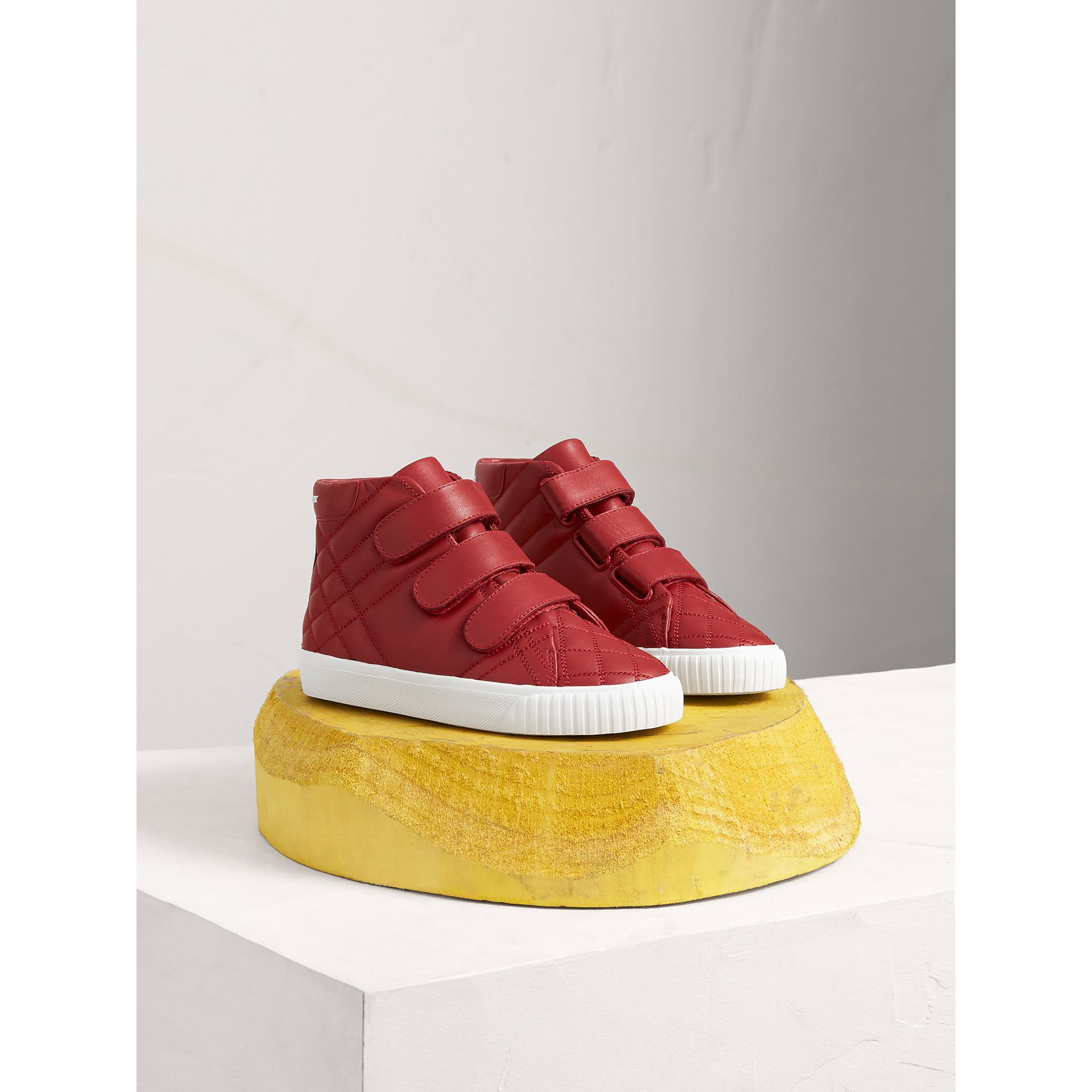 Quilted Leather High-top Trainers in Parade Red | Burberry - gallery image 0