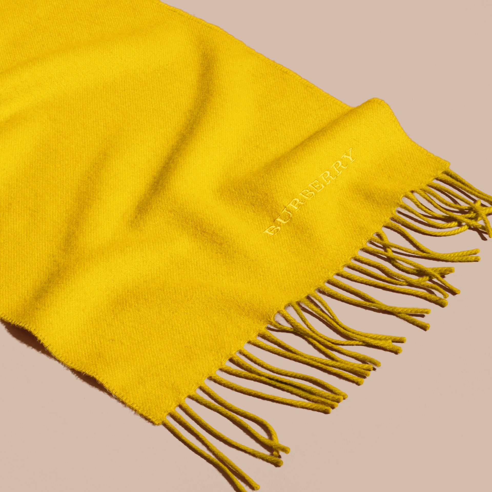 The Classic Cashmere Scarf in Gorse Yellow | Burberry Australia - gallery image 5