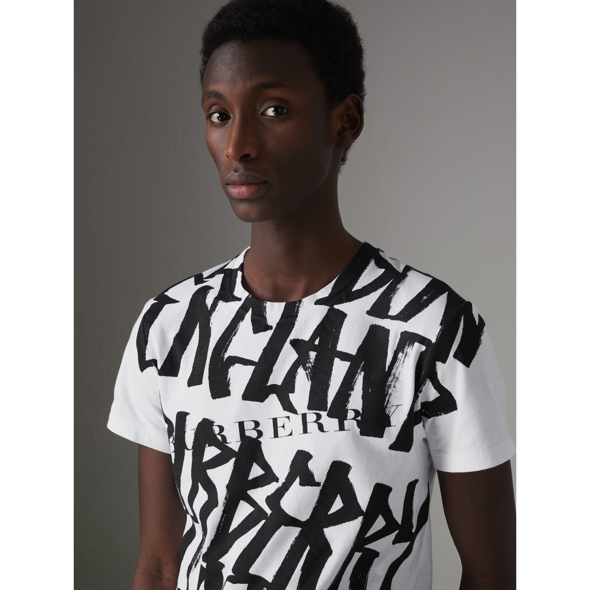 Graffiti Print Cotton T-shirt in White - Men | Burberry - gallery image 0
