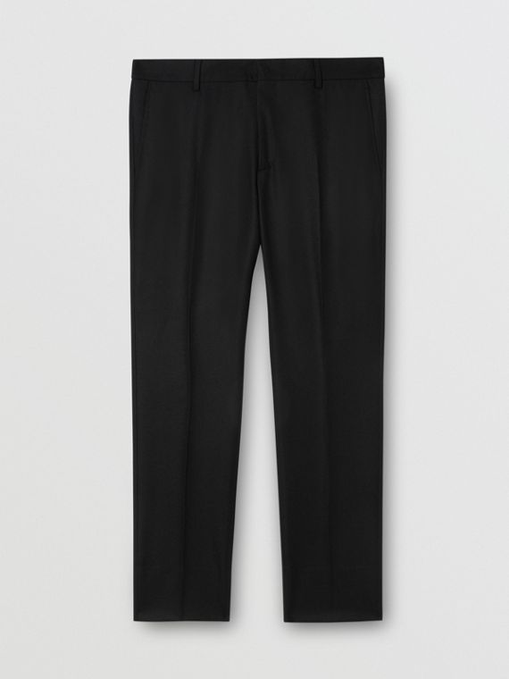 Classic Fit Wool Flannel Tailored Trousers in Black