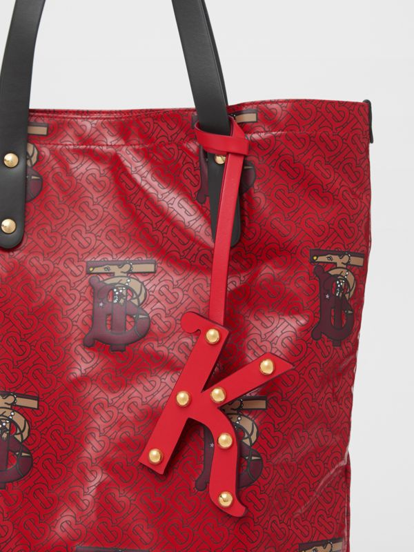 'K' Studded Leather Alphabet Charm in Red/light Gold | Burberry - cell image 3