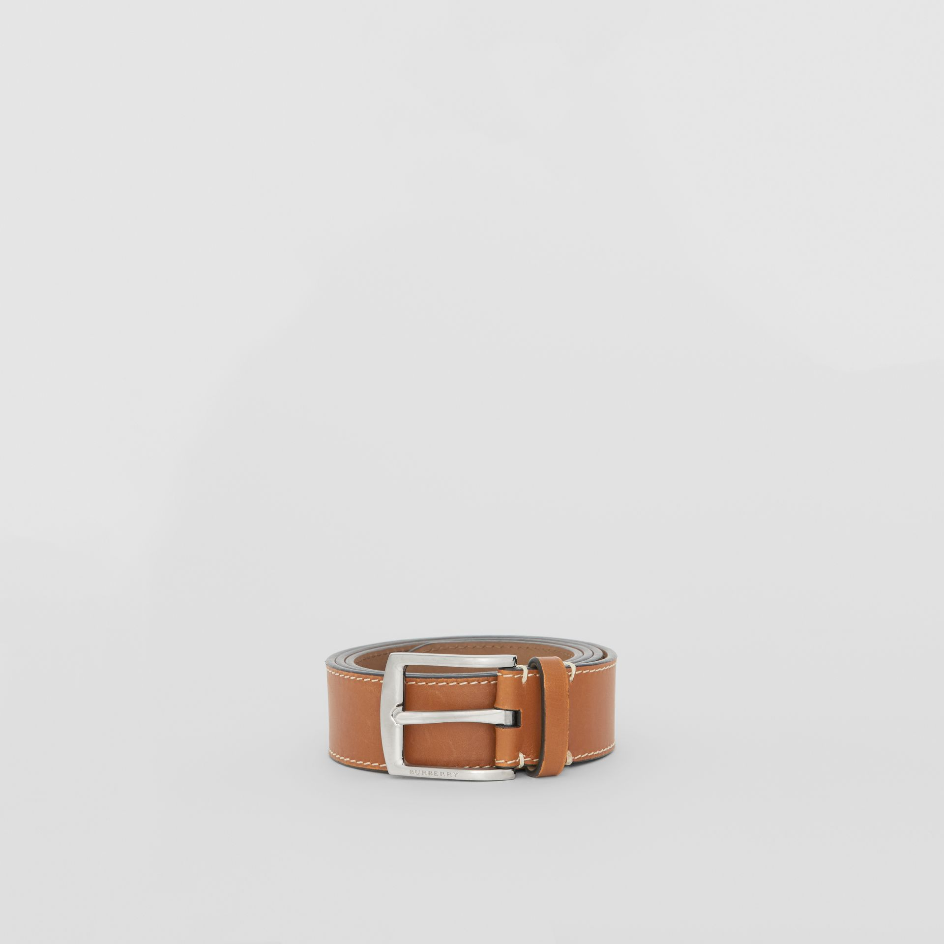 Topstitched Leather Belt in Tan - Men | Burberry United States - gallery image 3