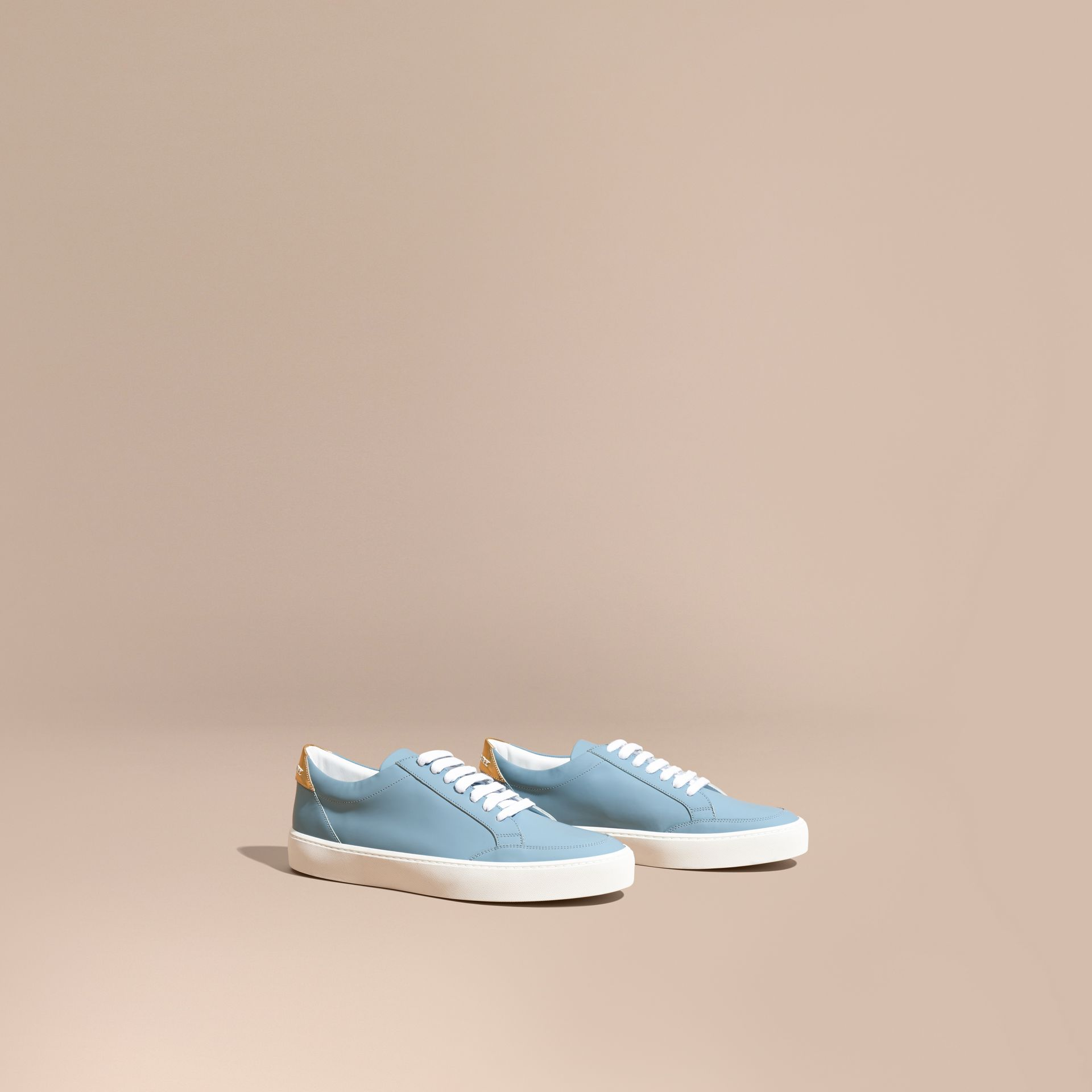 Metallic Detail Leather Trainers Powder Blue - gallery image 1