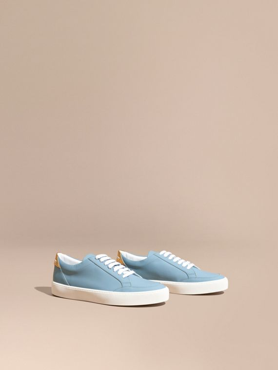 Metallic Detail Leather Trainers Powder Blue