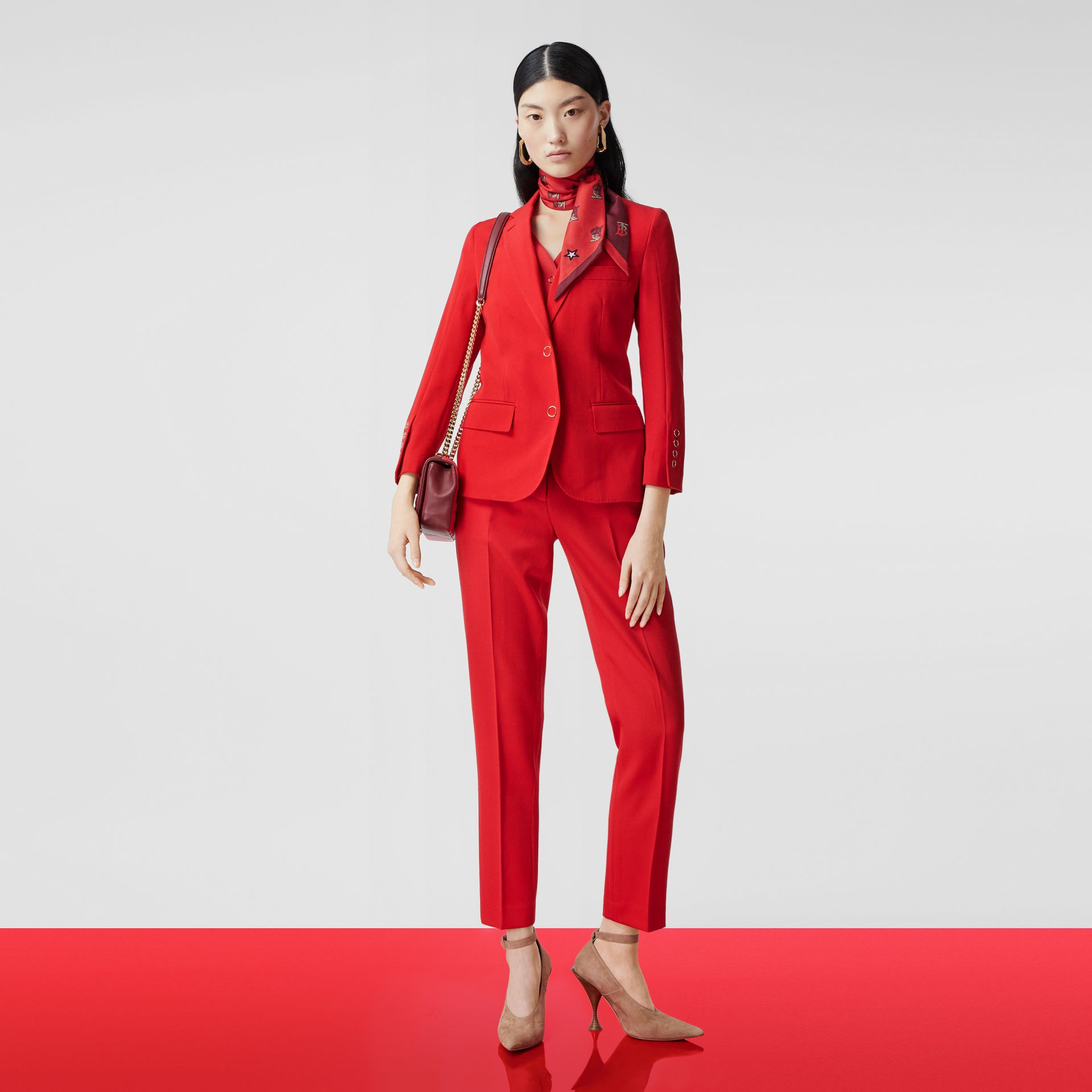 Waistcoat Panel Wool Tailored Jacket in Bright Red - Women | Burberry - gallery image 5