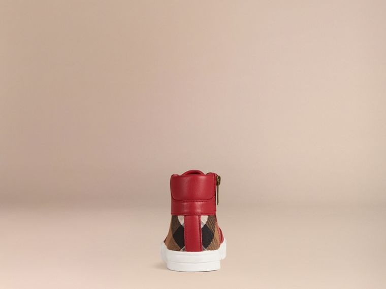 Leather and House Check High-Top Trainers in Parade Red | Burberry - cell image 1