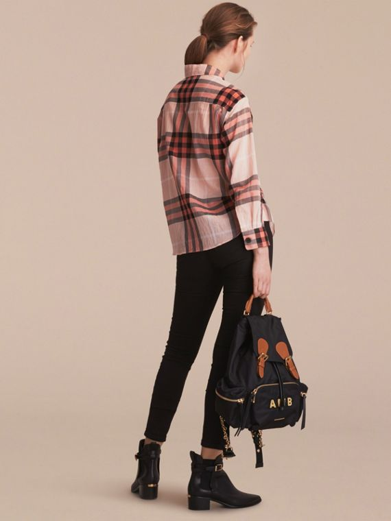 Check Tie Neck Cotton Shirt in Apricot - Women | Burberry Singapore - cell image 2