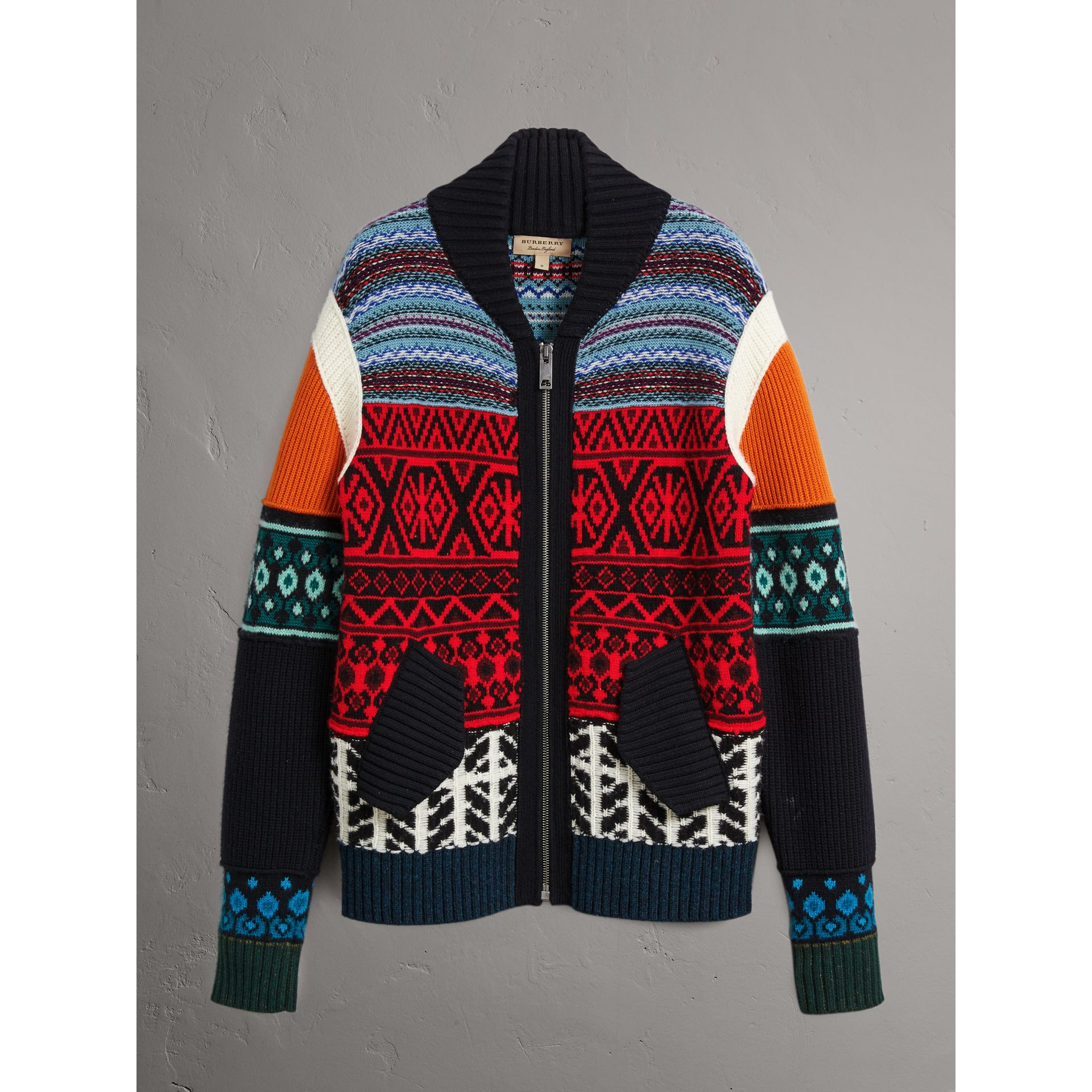 Fair Isle Wool Cashmere Cotton Bomber Jacket in Orange - Men | Burberry Australia - gallery image 4