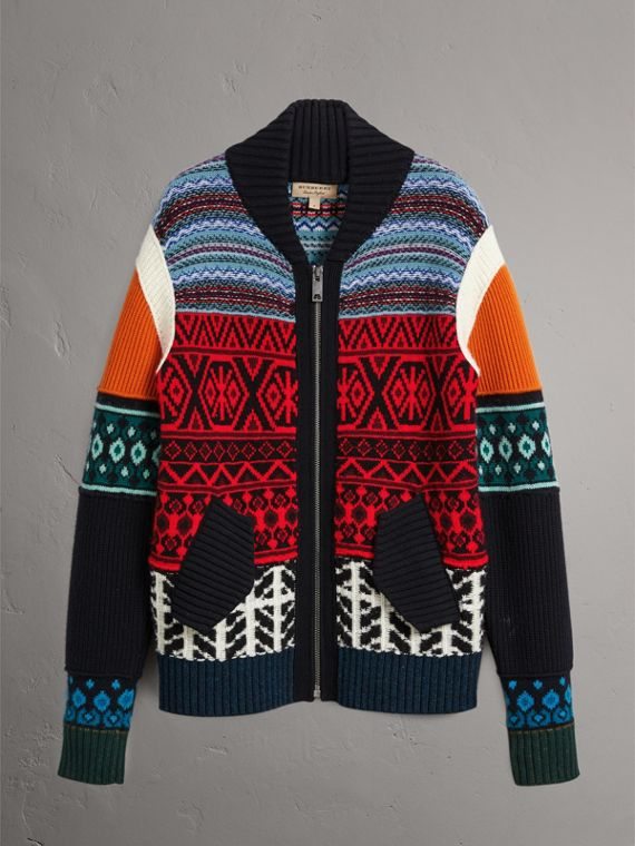 Fair Isle Wool Cashmere Cotton Bomber Jacket in Orange - Men | Burberry Australia - cell image 3