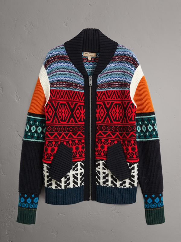 Fair Isle Wool Cashmere Cotton Bomber Jacket in Orange - Men | Burberry - cell image 3